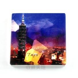 【收藏天地】台灣紀念品*陶瓷杯墊冰箱貼-夜色台北