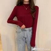 春秋新款酒紅色半高領長袖T恤女裝莫代爾內搭打底衫百搭上衣