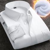男士加絨加厚白襯衫