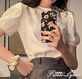 短袖t恤女裝2021新款夏季設計感蝴蝶結露肩上衣服港味復古ins風潮 范思蓮恩