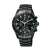 【Citizen星辰】GENT'S優遊城市光動能三眼計時腕錶-黑銀款/CA0455-53E/台灣總代理公司貨享兩年保固