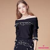【SHOWCASE】交叉羅紋露肩荷葉領七分袖棉質上衣(黑色)