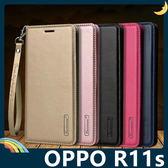 OPPO R11s Hanman保護套 皮革側翻皮套 隱形磁扣 簡易防水 帶掛繩 支架 插卡 手機套 手機殼 歐珀