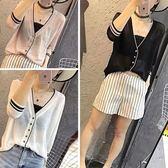 歐洲站夏季新款寬鬆薄款七分袖冰絲針織衫女透氣V領防曬衣短外套