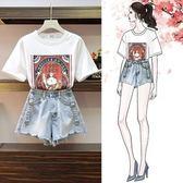 促銷價不退換上衣熱褲套裝XL-5XL中大尺碼33618夏裝新款女韓版寬松印花T恤 牛仔短褲兩件套