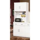 【森可家居】祖迪白色2.7尺雙門碗碟櫃 (上+下) 7ZX821-3 餐櫃 收納廚房櫃 中島 北歐風