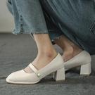 粗跟鞋 復古瑪麗珍鞋2021年新款夏季粗跟高跟鞋設計感小眾氣質單鞋女中跟