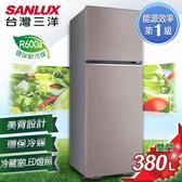 留言加碼折扣享優惠SANLUX台灣三洋 冰箱 380L雙門變頻電冰箱 SR-C380BV1 香檳紫
