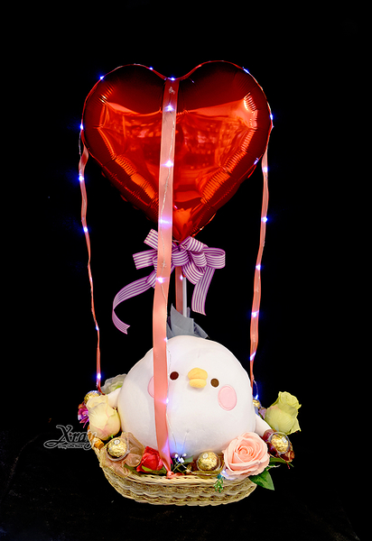 11吋超彈力坐姿P助幸福熱氣球,金莎花束/情人節禮物/婚禮佈置/派對慶生,節慶王【Y290871】