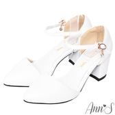 Ann'S Lovely-搖曳水鑽顯瘦側V繫踝尖頭粗跟鞋-白