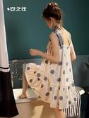 安之伴純棉睡衣女夏薄款吊帶睡裙甜美清新休閒外穿家居服寬鬆大碼 城市科技