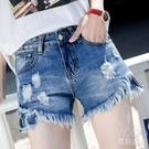 牛仔短褲 牛仔短褲女夏季新款韓版個性破洞顯瘦高腰寬松a字闊腿熱褲子 快速出貨