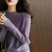 長袖針織衫~薰衣草紫 珠片軟糯輕暖 圓領針織毛衫BF19A莎菲娜