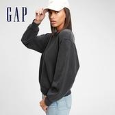Gap女裝 碳素軟磨系列 法式圈織簡約運動休閒上衣 650681-水洗黑