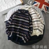 毛衣chic韓風民族風情侶毛衣男女日系復古學生秋冬條紋套頭潮流針織衫