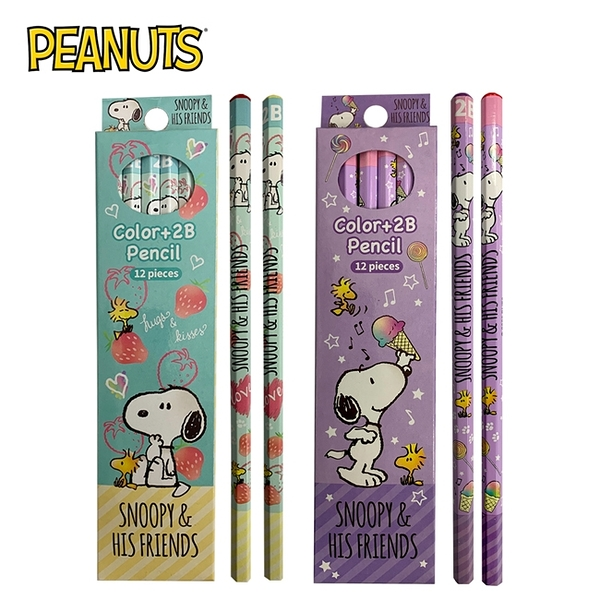 【正版授權】史努比 2B鉛筆 12入組 紅鉛筆 鉛筆 六角鉛筆 Snoopy PEANUTS 276873 276880