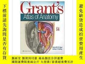 二手書博民逛書店格蘭特解剖學地圖集,國際版罕見Grant s Atlas of