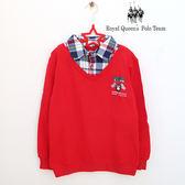 假兩件式格紋領紅色長袖棉質上衣 RQ POLO 中大童秋冬款 [5526]