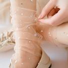 促銷 蕾絲襪子女網紗日系韓國玻璃絲中筒襪透明仙女襪薄款星星襪水晶襪