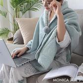 珊瑚絨小毛毯被子多功能懶人披肩毯學生法蘭絨沙發單人午睡空調毯   莫妮卡小屋
