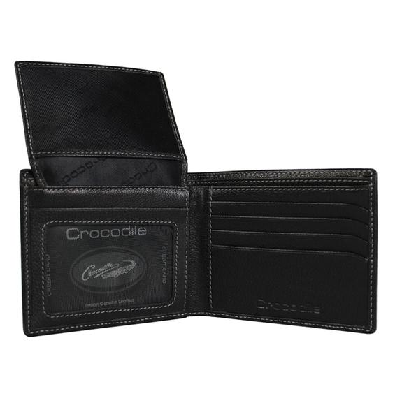 【橘子包包館】Crocodile 鱷魚 真皮 7卡相片零錢袋 男用短夾 0203-11041 黑色