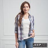 【JEEP】女裝 經典美式格紋長袖襯衫 (紅藍格)