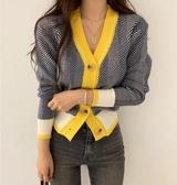韓版針織衫韓國chic 百搭撞色V領針織毛衣外套女N505-F.1號公館