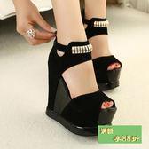 超高跟防潑水台女涼鞋厚底坡跟涼鞋魚嘴鞋拼色涼鞋夏季時尚女鞋