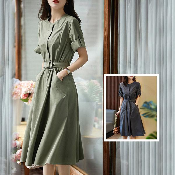 *ORead*法式復古收腰修身顯瘦連身裙(2色S~L)