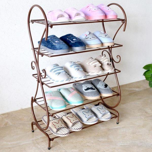鐵藝鞋架簡易 經濟型家用省空間歐式組裝防塵宿舍門口小鞋櫃特價igo『小琪嚴選』