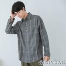 【OBIYUAN】長袖襯衫 寬鬆 開衩 格紋 衣服 襯衫外套 【X69120】