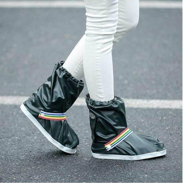 《J 精選》沉穩墨綠都會時尚中筒防水/防雨鞋套