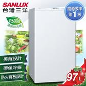 留言加碼折扣享優惠SANLUX 台灣三洋 97公升1級能效定頻單門小冰箱 SR-C97A1