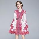 實拍#2020秋新款澳洲小眾宮廷風時尚印花貴婦氣質連衣裙