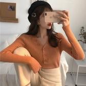 秋冬季新款V領單排扣針織衫毛衣長袖修身套頭打底衫上衣女裝