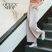 Queen Shop【04110100】鬆緊腰綁帶軟料寬褲 三色售*預購*