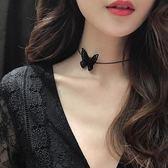 項鏈女鎖骨鏈小眾設計網紅蝴蝶項鏈短款黑色頸鏈項圈哥特風個性仙禮物 JA9751『科炫3C』