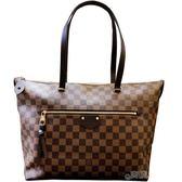 【Louis Vuitton 路易威登】N41013 經典Iena MM系列Damier Ebene帆布牛皮飾邊手提/肩背包