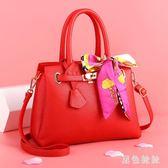 手提包 結婚包紅色包包新款新娘包百搭韓版婚禮伴娘斜跨女包手提大氣 qf16306【黑色妹妹】