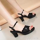 足意爾康涼鞋女高跟年夏季新款時裝媽媽粗跟魚嘴中跟女鞋「錢夫人小鋪」