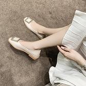潮女涼鞋 2021春夏新款小皮鞋女杏色軟皮英倫風一腳蹬日系復古百搭平底鞋【快速出貨八折下殺】