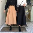 2020年新款中長款一排扣高腰半身裙女顯瘦大擺裙A字裙 送腰帶 依凡卡時尚