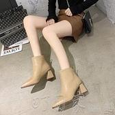 高跟靴粗跟高跟短靴2020年秋冬新款韓版時尚尖頭后拉鏈ins網紅瘦瘦靴女 町目家