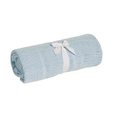 英國 mothercare 中大床棉毯/洞洞毯-藍色