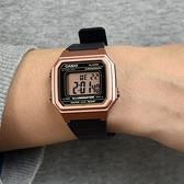 CASIO手錶 方型玫瑰金電子錶NECD19