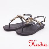 kadia.水鑽拼接寶石T字夾腳涼鞋(0111-95黑色)