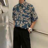 2019新款港風復古翻領襯衫短袖夏季男士休閒襯衣韓版潮流寬鬆寸衫 滿天星