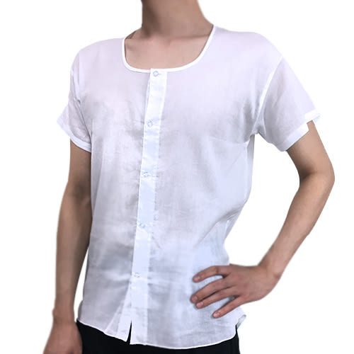 non-no儂儂褲襪 (3入)全開襟100%純棉竹紗男短袖內衣-49110