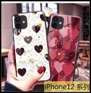 【萌萌噠】iPhone12 系列 Mini Pro Max 奢華時尚 閃粉鉑金 心心豹紋 全包軟邊 鋼化玻璃背板 手機殼
