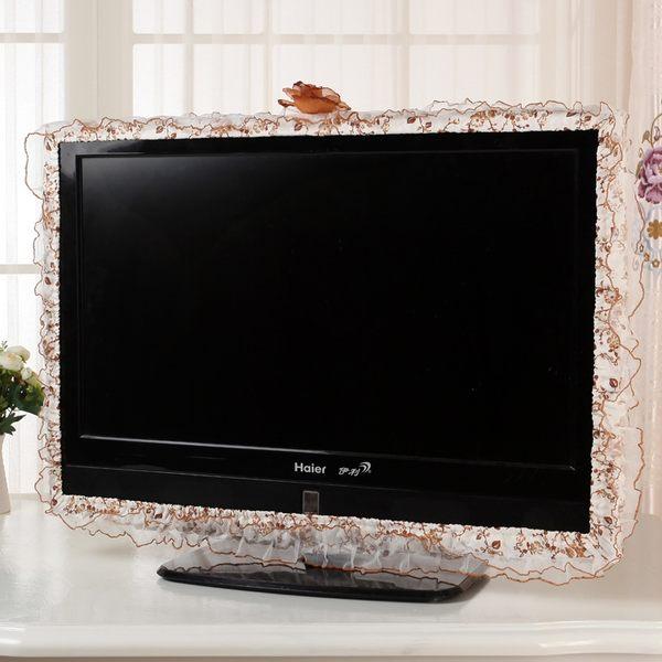 電視裝飾花邊液晶電視機罩 蕾絲公主布藝電視罩獨立防塵電視圈套